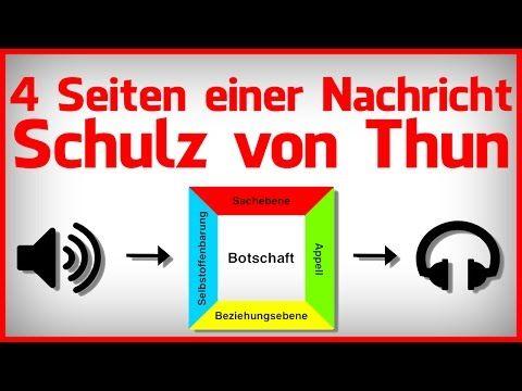 Die 4 Seiten Einer Nachricht Beispiele Friedemann Schulz Von Thun Youtube In 2020 Schulz Von Thun Schulz Nachrichten