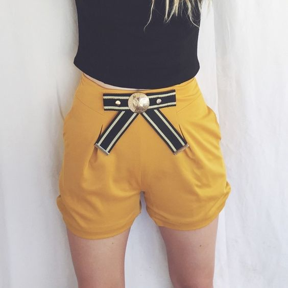 Gorgeous Mustard Yellow Buckled Shorts These are super cute high-waisted shorts. They are a gorgeous mustard color and are new without tags, worn only for the photos. They are a size Medium. Boutique Shorts