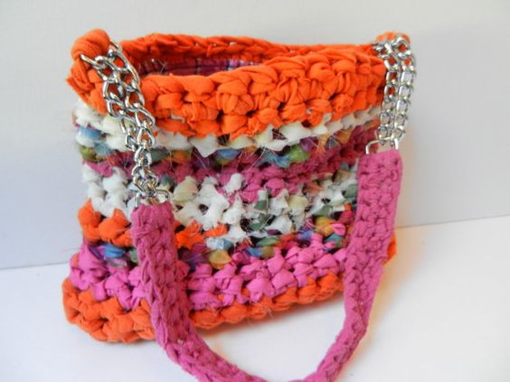 Handbag Fuchsia and Orange Color Block Purse by sewstacy on Etsy, $63.00