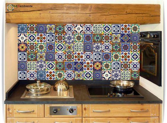 bunte mexiko fliesen f r den fliesenspiegel in der k che. Black Bedroom Furniture Sets. Home Design Ideas