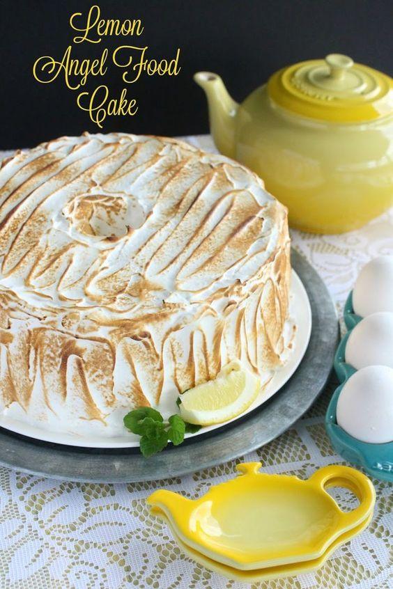 Lemon Meringue Angel Food Cake by LoveandConfections.com