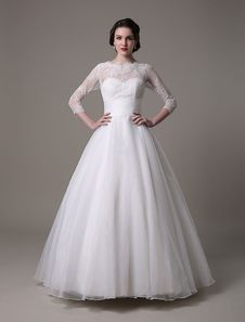 Princess Organza Lace Wedding Dress With 3/4 Sleeves And Beading Sequins
