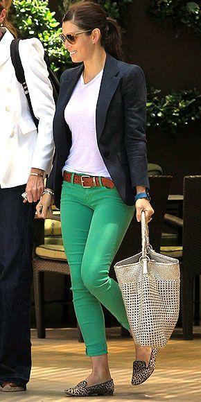 Coloured jeans + Blazer