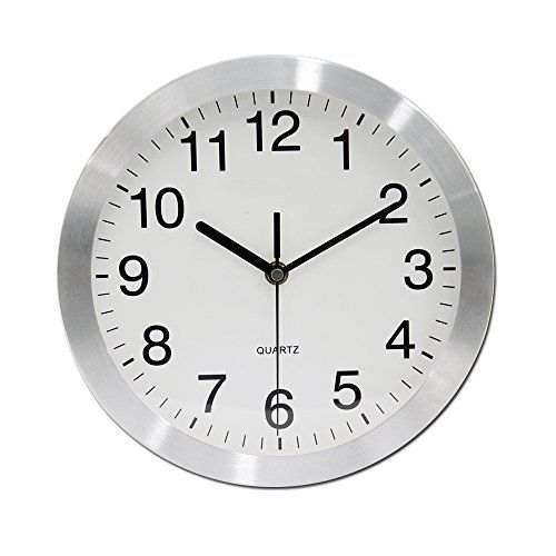 Vsence Silent Nonticking Wall Clock Aluminum Frame Home Kitchenliving Room Decorations 10 Inches Silver Click Image T Clock Wall Clock Wall Decor