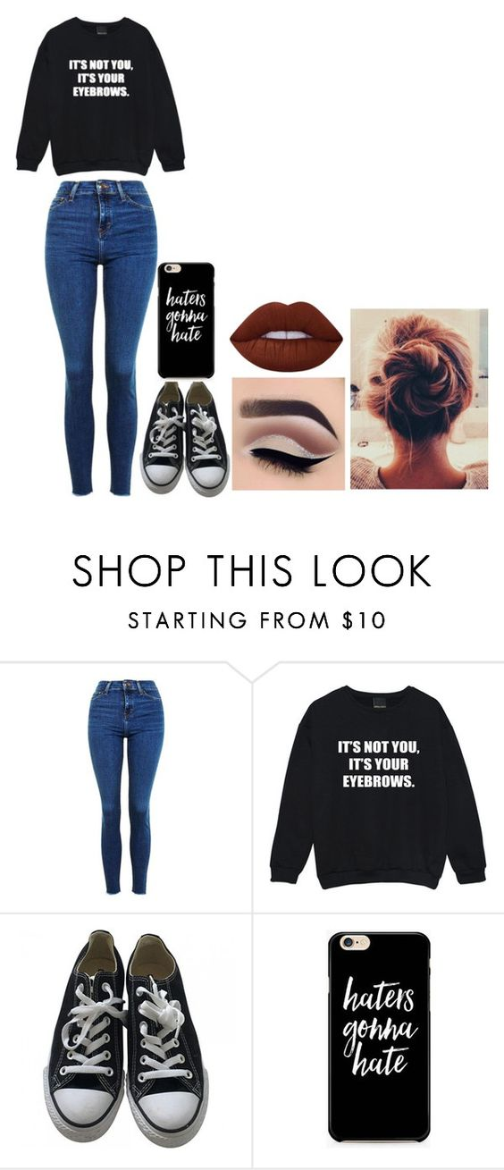 """""""idk"""" by craycraymonkey03 ❤ liked on Polyvore featuring Topshop, Converse and Lime Crime"""