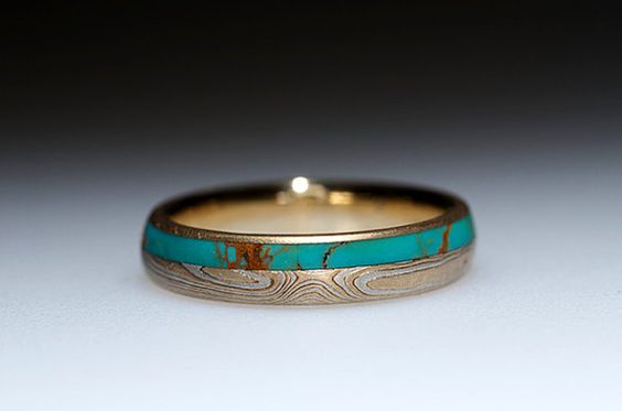 Mokumé Gane Turquoise and Diamond Ring von ChrisTimberlake auf Etsy