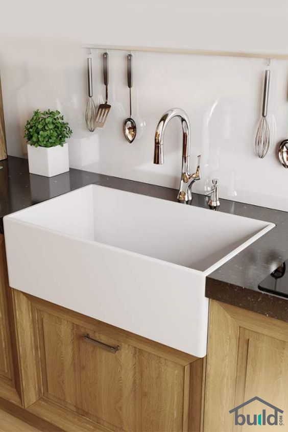 Farmhouse sinks say a lot about style and durability. Also known as apron sinks, these are commonly found in country-style homes and feature a large, deep basin (sometimes double basin), as well as a wide base to hold more pots, pans and whatever else you keep in the kitchen sink. Farmhouse sinks also come in stainless steel for a contemporary look. Browse our selection today!:
