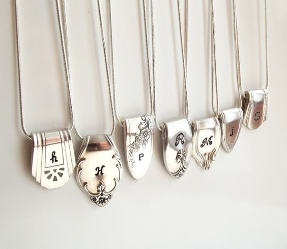 Silverware End Initial Necklace - Silverware Jewelry - Silverware Necklace - Personalized Necklace. $24.99, via Etsy.