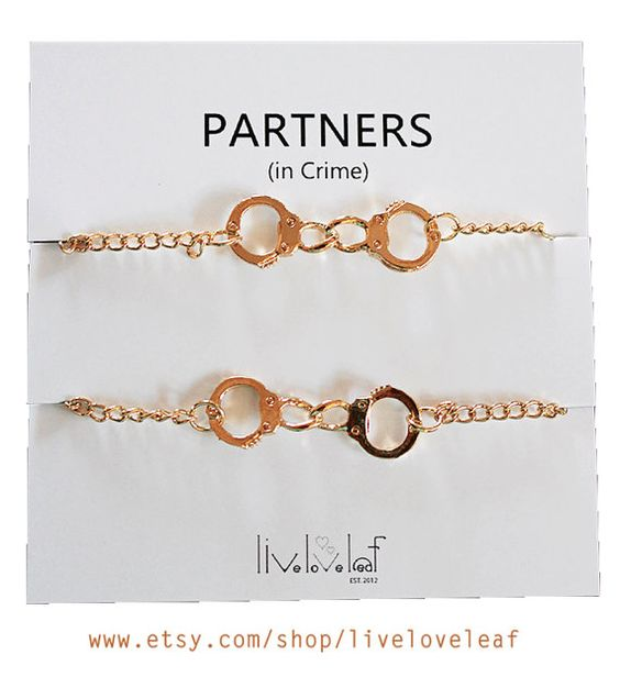 A set of 2 matching Gold plated Handcuffs bracelets for you and your Best friend, Sister, Mom and Daughter, Partner, Husband or wife, boyfriend and