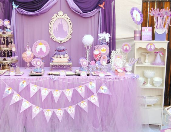 PURPLE Princess Birthday Party - COMPLETE - Disney Princess Party - Girls Birthday- Bridal Shower - Sofia Party- Sofia the First-Girls Party on Etsy, $25.00