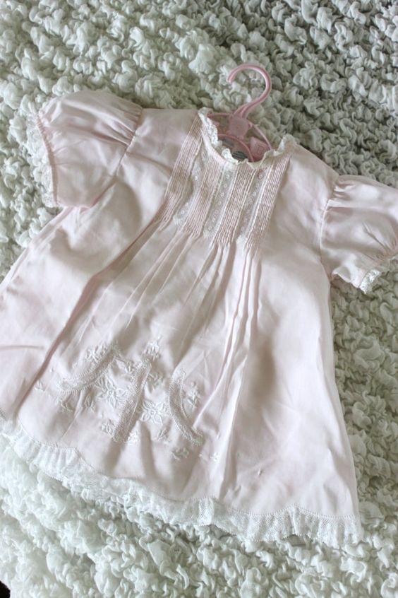 Vintage Pink Dress + Slip Hand Embroidered-- Feltman Brothers.