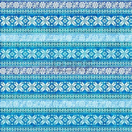 Popular tradicional n�rdico textyle ornamento geom�trico en azul photo