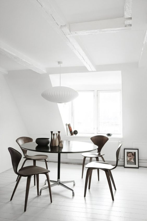 Interior by RUM4, Copenhagen Chairs by Norman Cherner, George Nelson lamp from 1948.