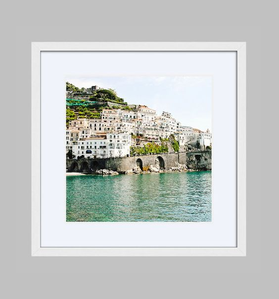 Framed Amalfi Italy Print - Italian Wall Art - Beach House Decor - Travel Photography - Turquoise and White Print - Mediterranean Photograph