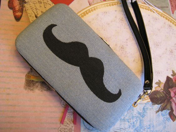 New NWT Mossimo Denim & Black Mustache Phone Case / Tech Wallet / Wristlet