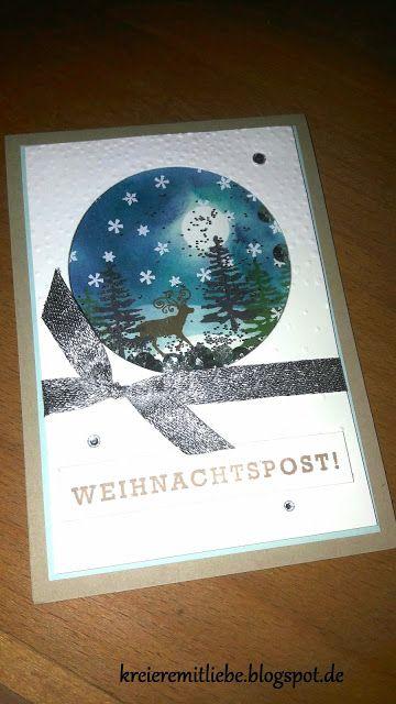 weihnachtskarte # 5 | Grüße vom Weihnachtsmann | Sponge-Technik | Schüttelkarte/ Shakercard ~ Kreiere mit Liebe - Stempeln, Stanzen, Prägen und Co.