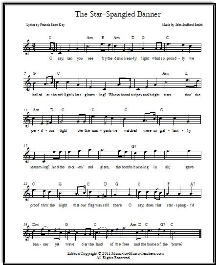 Grenade Flute Sheet Music With Lyrics: Star-Spangled Banner Free Sheet Music & Lyrics For All