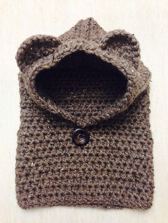 Harper Crochet Bear Hooded Cowl (Toddler & Child sizes) - knit, scarf, ne...