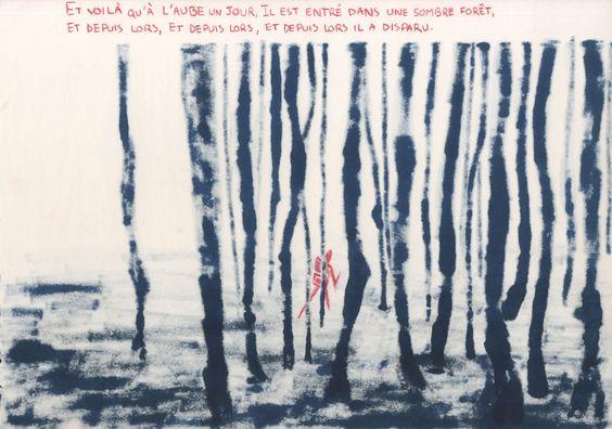 """Illustration en bichromie du poème """"Un homme est sorti de chez lui"""" de Danill Harms. (1937)"""