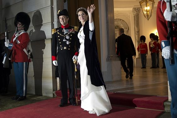 Denmark's Crown Prince Frederik and Crown Princess Mary host the annual New Year's Banquet in Copenhagen Denmark on January 1 2015 AFP PHOTO /...