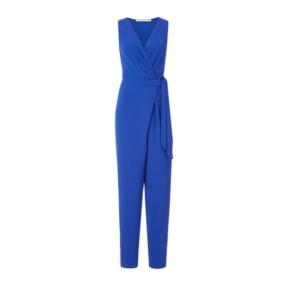 DVF Cordia Sleeveless Crepe Jumpsuit (£355) ❤ liked on Polyvore featuring jumpsuits, blue riviera, white jumpsuit, diane von furstenberg jumpsuit, diane von furstenberg, crepe jumpsuit and white sleeveless jumpsuit