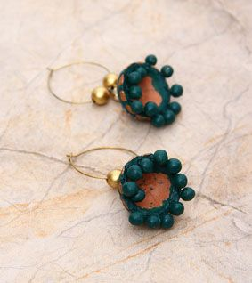 HandsOn by Buzzaria Green And Golden Hand Painted Terracotta Earrings