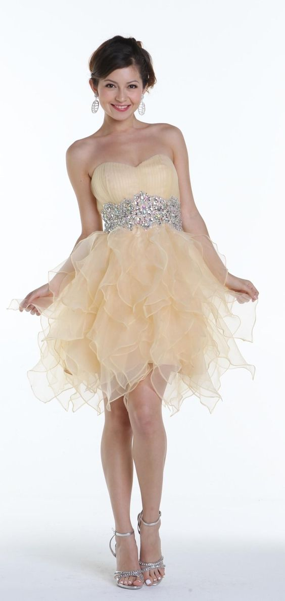 Sweetheart Poofy Ruffle Tulle Champagne Homecoming Dresses Short ...