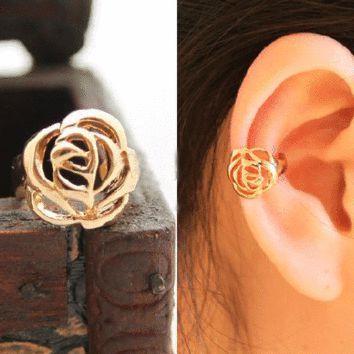 Rose ear cuff