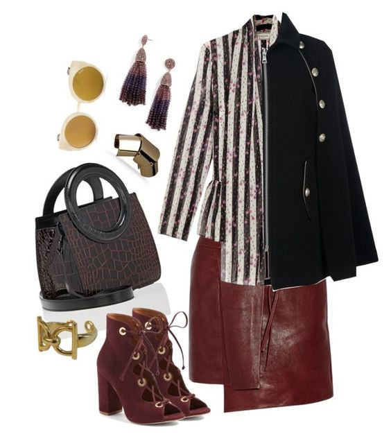 """Black + Burgundy"" by cherieaustin ❤ liked on Polyvore featuring Maison Margiela, Opening Ceremony, Steve Madden, Isabel Marant, Lanvin, See by Chloé, Gucci, BaubleBar and Quay"