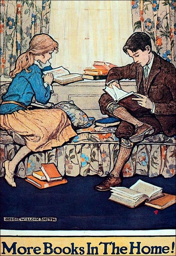 "Art by Jessie Willcox Smith, ""More Books In The Home!"""