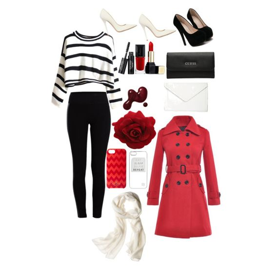 red velvet by sparkleqween on Polyvore featuring moda, Pieces, Jimmy Choo, GUESS, Isaac Mizrahi, Reed Krakoff, Kate Spade, River Island and Guerlain