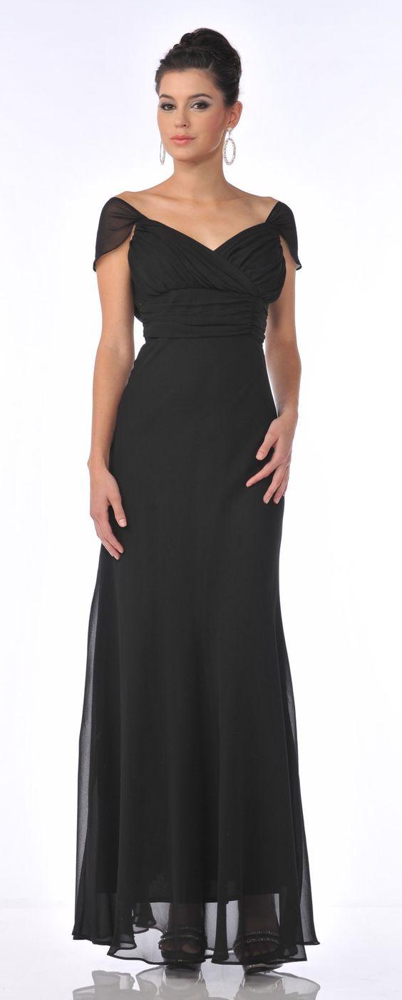 Off The Shoulder Cap Sleeve Black Chiffon Long Semi Formal Dress ...