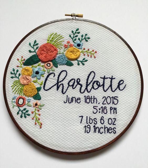 Embroidery hoop art baby custom