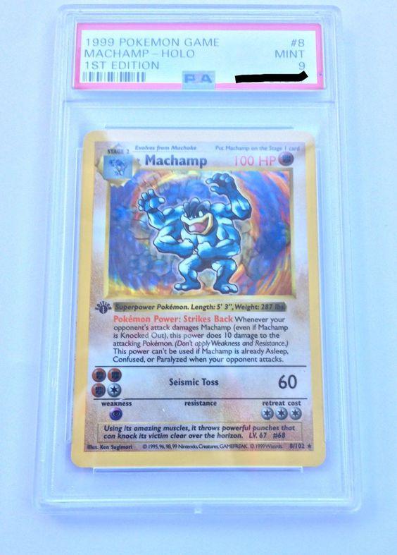 Mint 1st Edition Base Set Pokemon Card Machamp Holo Rare 8//102 PSA First Ed