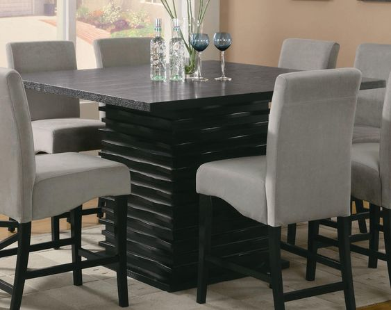 Creative Square Granite Countertop Dining Table With Paneled Stone Design And