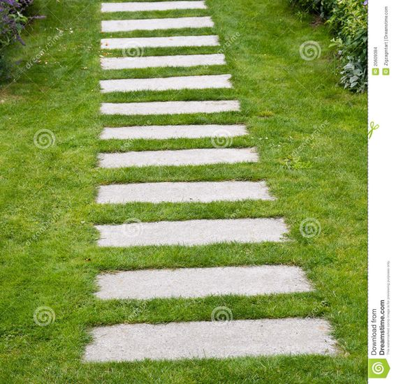Paving stones with grass for pinterest residential for Stone path in grass