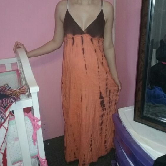 Orange and brown dress Ocean breeze brand, perfect for spring and the beach. :) Ocean breeze Dresses Maxi