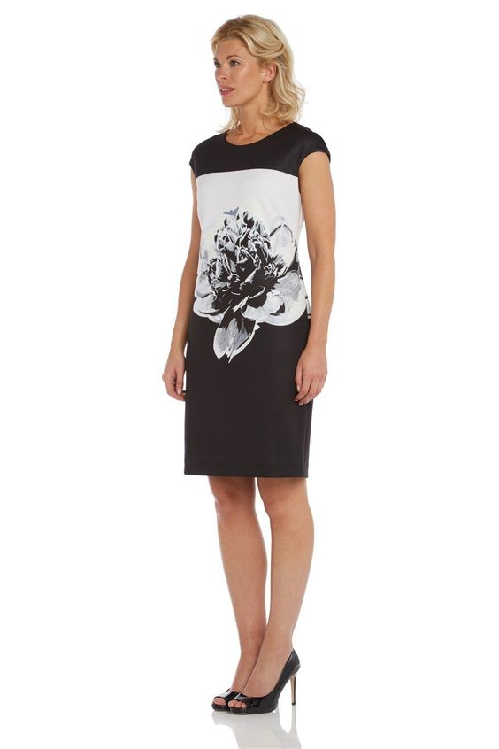 Womens Floral Placement Print Dress - Ladies - Black - Size 10 12 14 16 18: Amazon.co.uk: Clothing
