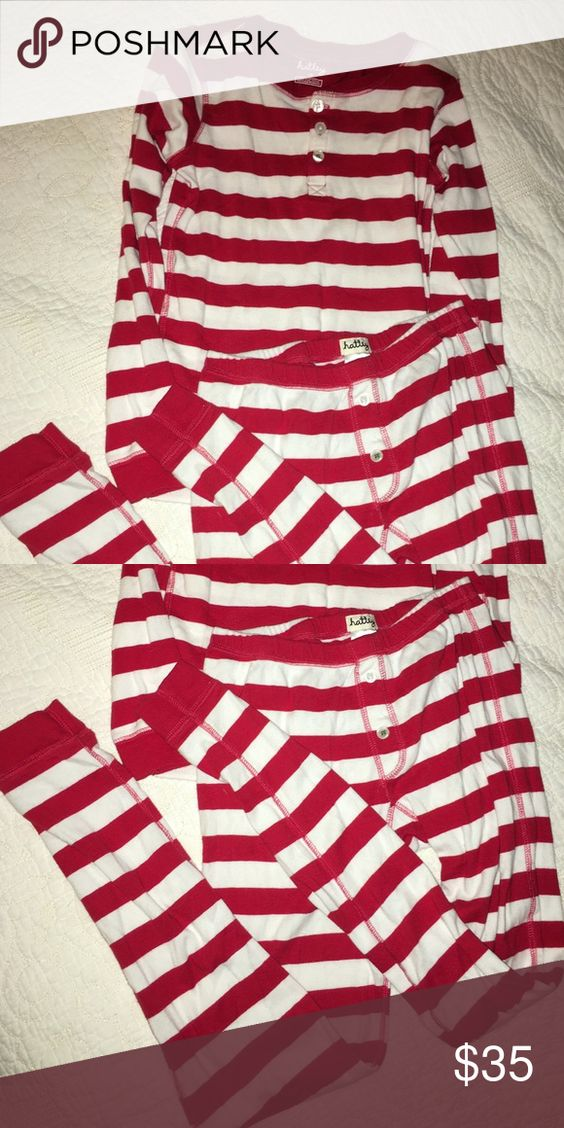 Red and White Pajama Set Perfect for Holidays My son wore these adorable stripe PJs for two Christmas Eve's and has grown out of them!!! They are comfy cotton, boutique brand Hatley. Size 12 but the top runs a bit small - more like a 10. Pants are great length. My son wore the pants the second year with a different shirt when he grew out of the original shirt. He's 11 now and the pants and shirt are too small and I'm sad that he may not let me put him into Christmas PJs anymore!!! Hatley…