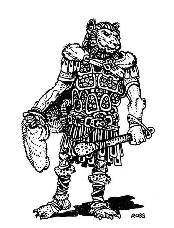 Flinds are relatives of gnolls, sometimes found as leaders of gnoll bands. Most use a club; 25% percent wield a flindbar, a pair of chain-linked iron bars that can attack twice and disarm opponents...