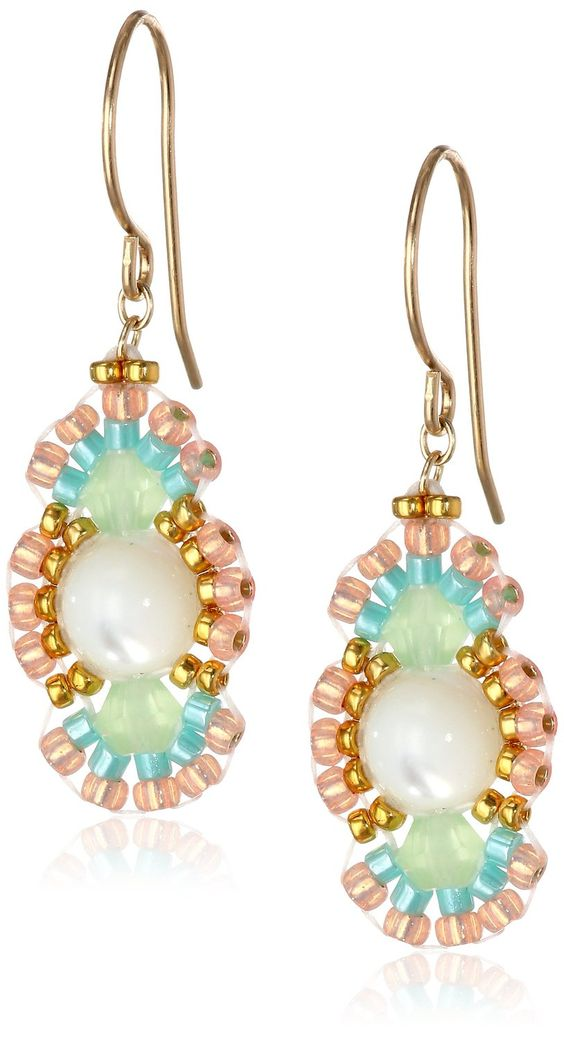 "Amazon.com: Miguel Ases Prehnite and Mother of Pearl Oval Drop Earrings, 1.35"": Jewelry:"