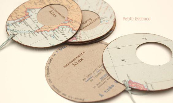 """Invitación de cumpleaños """"mapa mundi"""" personalizada"""