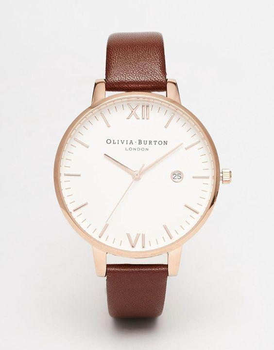 Image 1 ofOlivia Burton Timeless Leather Strap Oversize Dial Watch