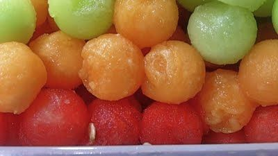 Drunken Melon Balls aka boozy balls    This is a great idea.  Going to skip the alcohol and go for the pineapple juice and Sprite for a kid friendly treat.
