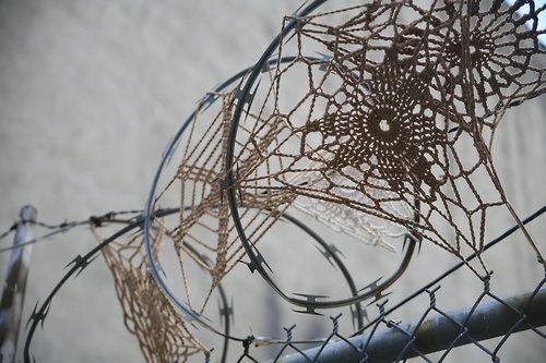 dangerous sport...yarn bombing on barbed wire!!