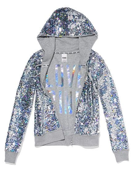 PINK Bling Perfect Zip Hoodie in Heather Grey $198