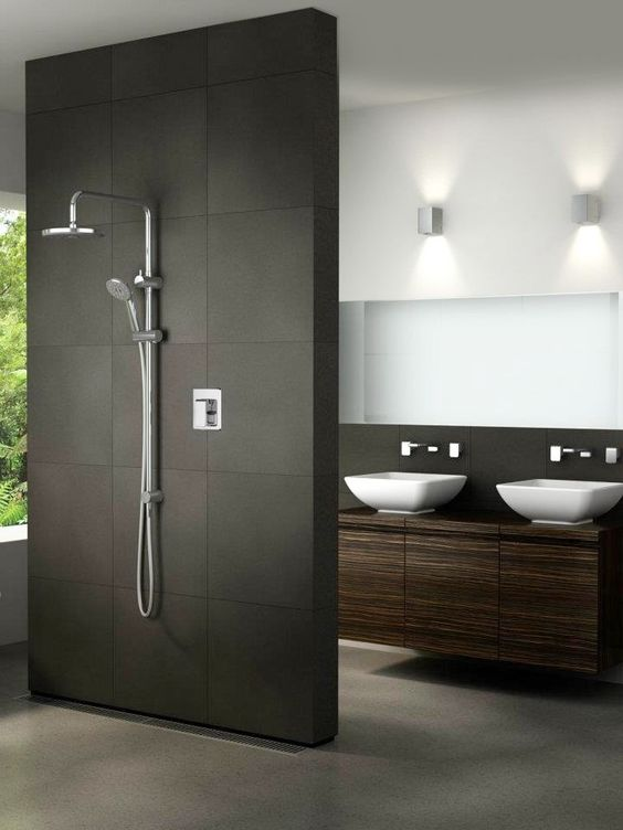 Loving the flow between the vanity and the shower - so open, so modern.