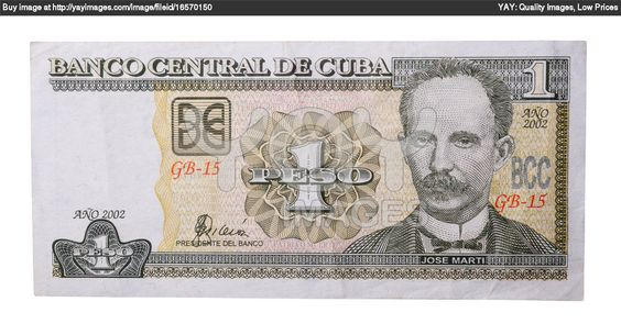 A Cuban Peso, It shows the image of Jose Marti the Cuban Independence World Leader.