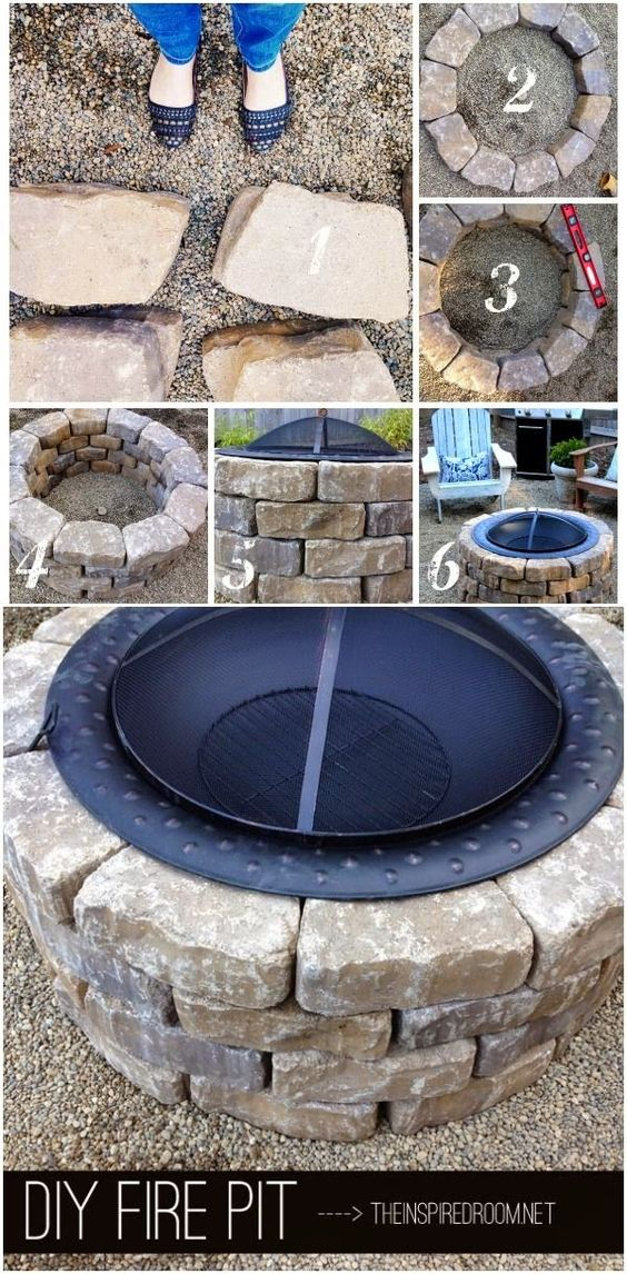 Do it yourself ideas diy fire pit backyard pinterest for Do it yourself fire pit designs