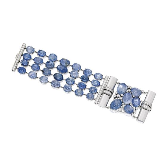 18 Karat White Gold, Sapphire and Diamond Bracelet, Seaman Schepps Composed of…